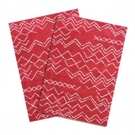 Pack de 2 Alfombras Shaggy Jacinta Red Cotton 060x120cm